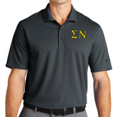 Nike Golf Dri Fit Charcoal Micro Pique Polo-Greek Letters w/ Trim