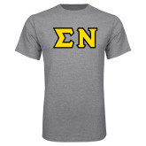 Grey T Shirt-Tackle Twill Greek Letters, Tackle Twill
