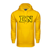 Under Armour Gold Performance Sweats Team Hoodie-Tackle Twill Greek Letters, Tackle Twill