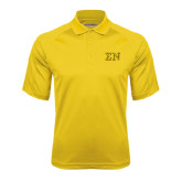 Gold Textured Saddle Shoulder Polo-Greek Letters w/ Trim