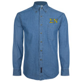 Denim Shirt Long Sleeve-Greek Letters w/ Trim