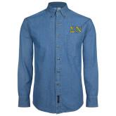 Denim Shirt Long Sleeve-Greek Letters w/ Trim