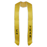 2017 Gold Graduation Stole w/White Trim-Small Greek Letters Tackle Twill Stacked