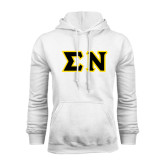 White Fleece Hoodie-Tackle Twill Greek Letters, Tackle Twill