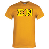 Gold T Shirt-Tackle Twill Greek Letters, Tackle Twill