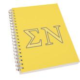 Clear 7 x 10 Spiral Journal Notebook-Greek Letters w/ Trim