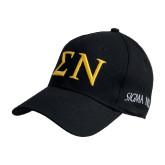 Black Heavyweight Twill Pro Style Hat-Greek Letters