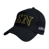 Black Heavyweight Twill Pro Style Hat-Greek Letters w/ Trim