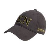 Charcoal Twill Unstructured Low Profile Hat-Greek Letters w/ Trim