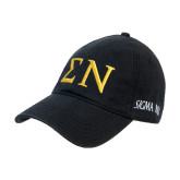 Black Twill Unstructured Low Profile Hat-Greek Letters