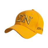 Gold Heavyweight Twill Pro Style Hat-Greek Letters w/ Trim