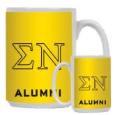 Alumni Full Color White Mug 15oz-Greek Letters w/ Trim
