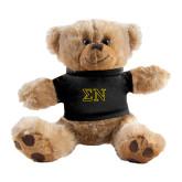 Plush Big Paw 8 1/2 inch Brown Bear w/Black Shirt-Greek Letters w/ Trim