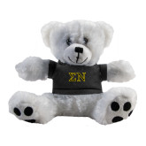 Plush Big Paw 8 1/2 inch White Bear w/Black Shirt-Greek Letters w/ Trim