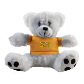 Plush Big Paw 8 1/2 inch White Bear w/Gold Shirt-Greek Letters w/ Trim