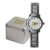 Mens Stainless Steel Fashion Watch-Greek Letters w/ Trim
