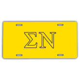 License Plate-Greek Letters w/ Trim