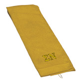 Gold Golf Towel-Greek Letters w/ Trim