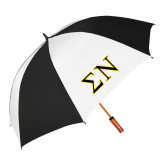 64 Inch Black/Whit Umbrella-Greek Letters w/ Trim