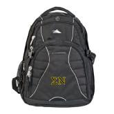 High Sierra Swerve Black Compu Backpack-Greek Letters w/ Trim