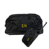 Urban Passage Wheeled Black Duffel-Greek Letters