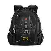 Wenger Swiss Army Mega Black Compu Backpack-Greek Letters
