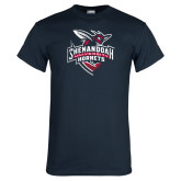 Navy T Shirt-Official Logo Distressed