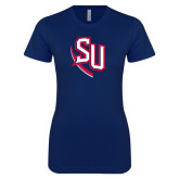 Next Level Ladies SoftStyle Junior Fitted Navy Tee-SU