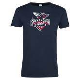 Ladies Navy T Shirt-Official Logo