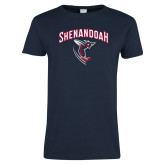 Ladies Navy T Shirt-Shenandoah Hornet