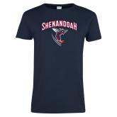 Ladies Navy T Shirt-Shenandoah Hornet