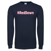Navy Long Sleeve T Shirt-Red Dawn