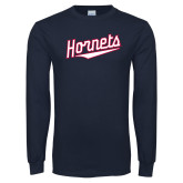 Navy Long Sleeve T Shirt-SU Hornets Script