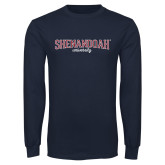 Navy Long Sleeve T Shirt-Squeeze Text