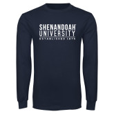 Navy Long Sleeve T Shirt-Established Date Stacked