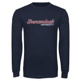 Navy Long Sleeve T Shirt-Script