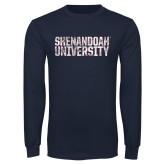Navy Long Sleeve T Shirt-Shenandoah University - Distressed