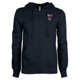 ENZA Ladies Navy Fleece Full Zip Hoodie-Hornet