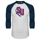 White/Navy Raglan Baseball T-Shirt-SU