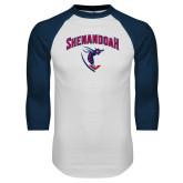 White/Navy Raglan Baseball T-Shirt-Shenandoah Hornet