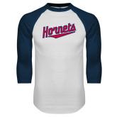 White/Navy Raglan Baseball T-Shirt-SU Hornets Script
