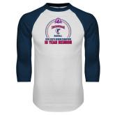 White/Navy Raglan Baseball T Shirt-10 Year Reunion 2009 Baseball Champions
