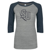 ENZA Ladies Athletic Heather/Navy Vintage Triblend Baseball Tee-SU Graphite Soft Glitter