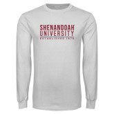 White Long Sleeve T Shirt-Established Date Stacked
