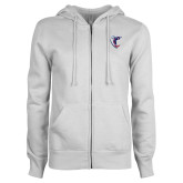 ENZA Ladies White Fleece Full Zip Hoodie-Hornet