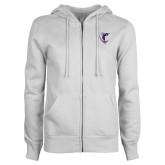 ENZA Ladies White Fleece Full Zip Hoodie-Hornet