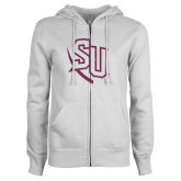 ENZA Ladies White Fleece Full Zip Hoodie-SU Pink Glitter
