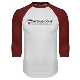 White/Cardinal Raglan Baseball T Shirt-Primary University Mark