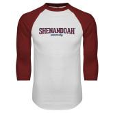 White/Cardinal Raglan Baseball T Shirt-Squeeze Text