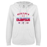 ENZA Ladies White V Notch Raw Edge Fleece Hoodie-Back 2 Back ODAC Baseball Champions